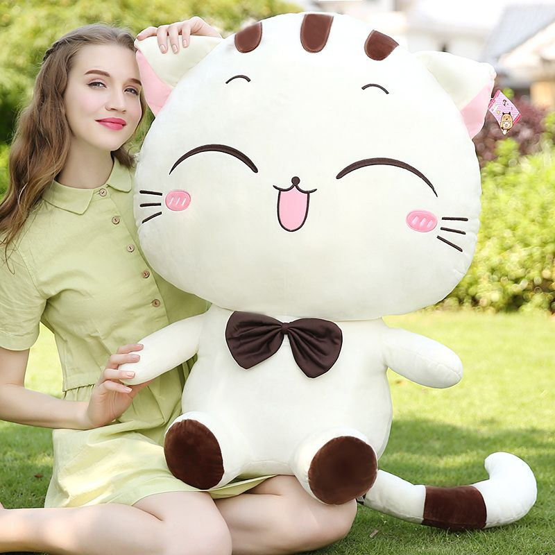 [ 30CM-60Cm 6 Style ] Cute Large Smile Face Cat Plush Stuffed Toy Pillow Birthday Gift Cushion Fortune Cat Doll Kawaii Plush Toy