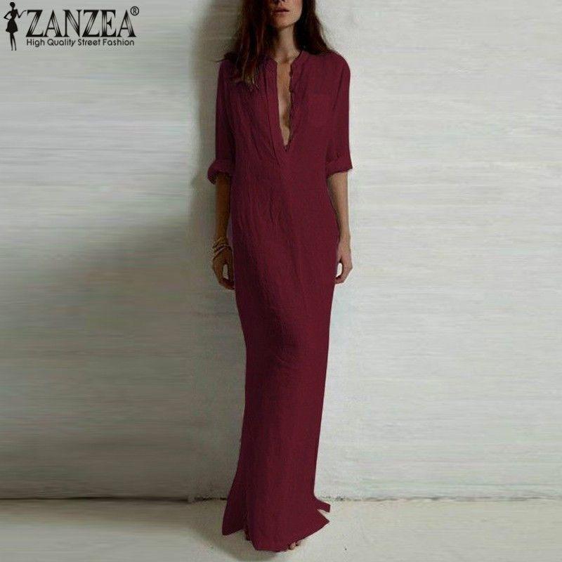 Vestidos 2018 ZANZEA Women Retro Long Dress Elegant Sexy Ladies Long Sleeve Deep V Neck Long Split Solid Floor-length Dress