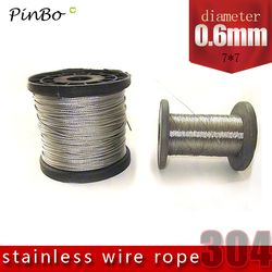 100M 304 stainless steel wire rope alambre cable softer fishing lifting cable 7X7 Structure 0.6mm diameter