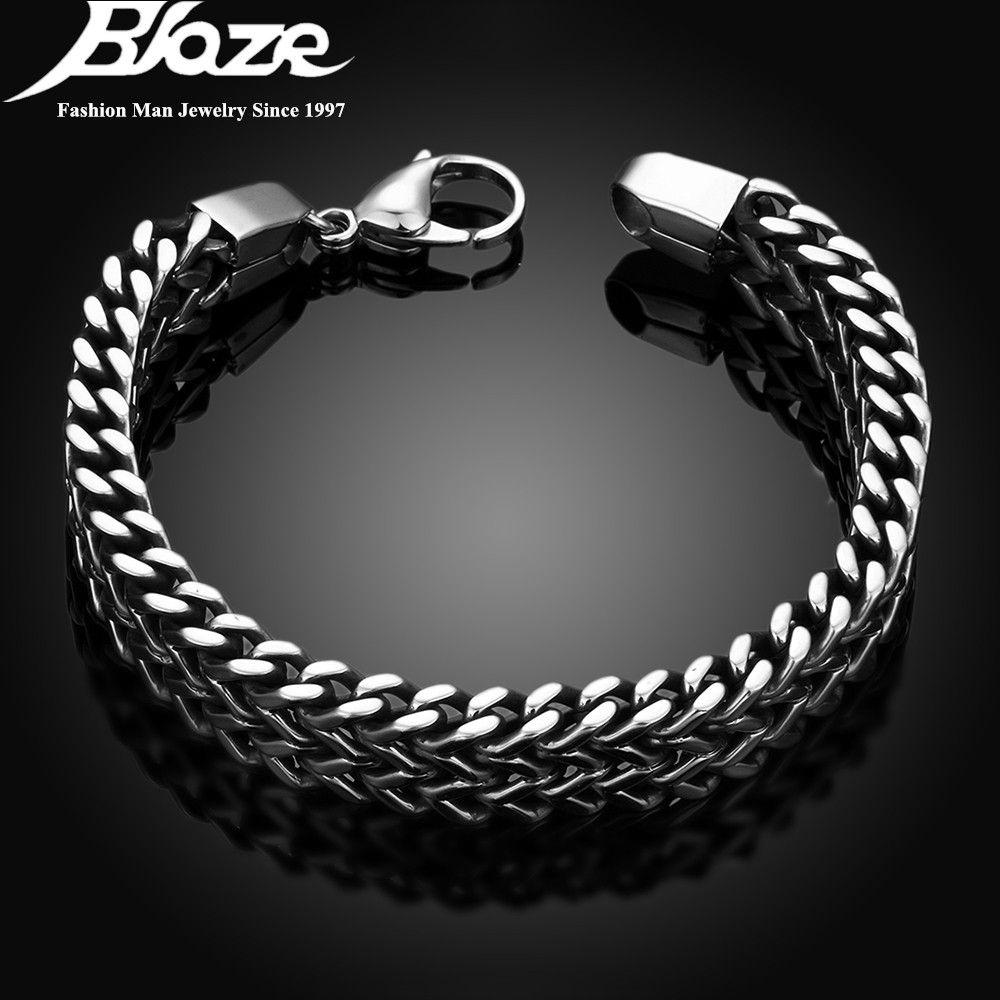 2017 hommes bracelets et Bracelets 5*12mm 316L En Acier Inoxydable Bracelet Chaîne de Main Bijoux Cadeau pulseira
