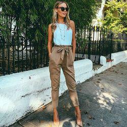 LDZHPS 2018 été Nouveau Solide couleur OL mousseline de soie harem pantalon Femmes Mode taille haute femme casual pantalon pantalones