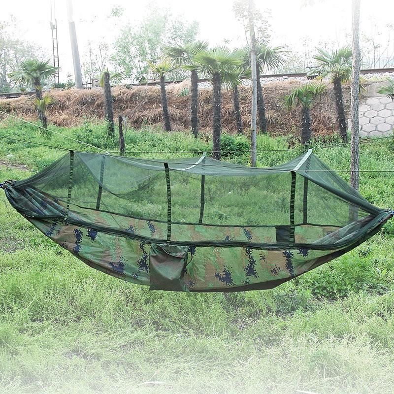 SGODDE Portable Folded 200kg Maximum Load Travel Jungle Camping Outdoor Hammock Hanging Nylon Bed + Mosquito Net Hot Sale