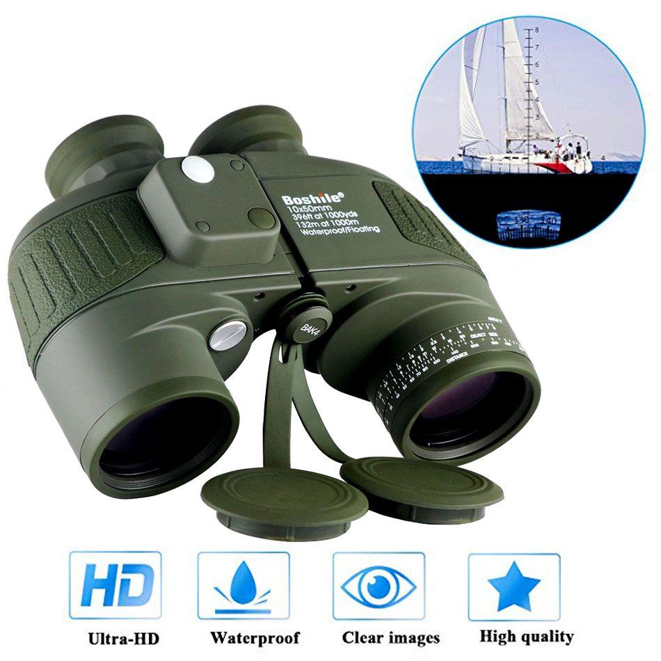 Jumelles militaires imperméables Boshile 10x50 marine télescope jumelles avec télémètre et boussole lentille entièrement multi-enduite BAK4