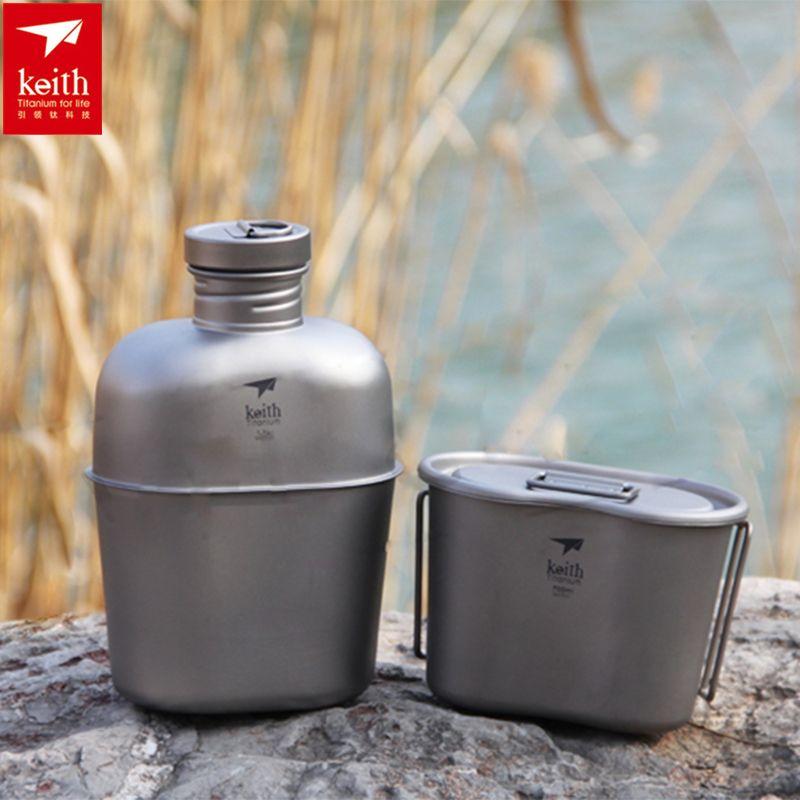 Keith Titan Lunchbox Army Military Wasser Flasche Topf Kantine kochgeschirr Set 268g 1.7L + 0.7L w/Camo Tasche Ti3060 Drop verschiffen