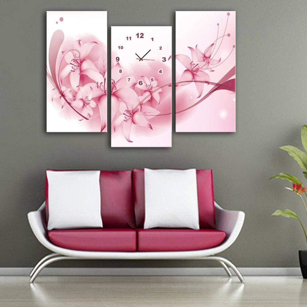Free Shipping E-HOME Pink Flowers Clock in Canvas 3pcs wall clock