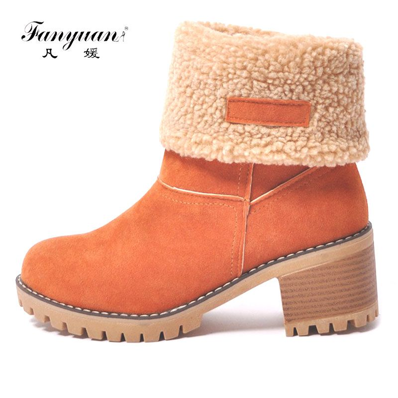 Fanyuan Women Snow Boots Thick Bottom Platform Waterproof Ankle Boots For Women Thick Warm fur Winter Warm Boots size 34-43