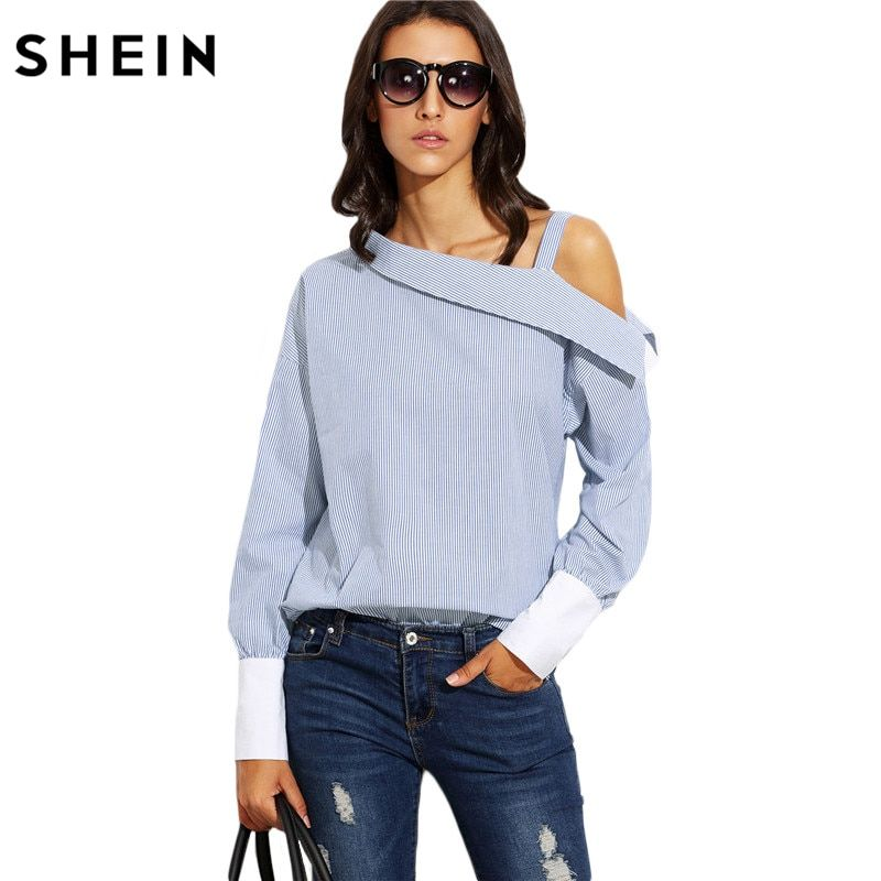 SHEIN Womens Tops Fashion Autumn <font><b>Ladies</b></font> Blue Striped Fold Over Asymmetric Shoulder Long Sleeve Contrast Cuff Blouse