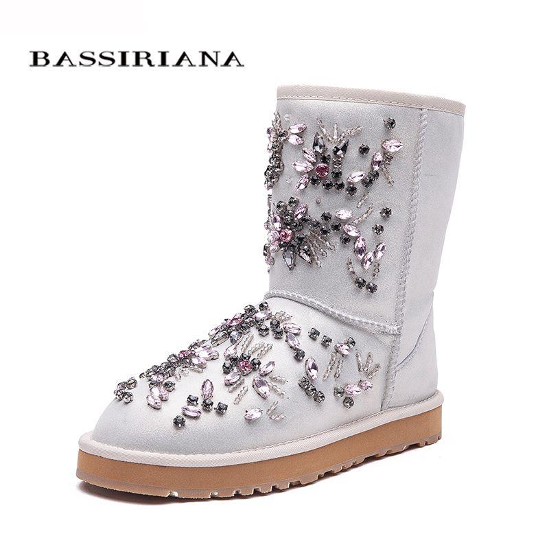 Bassiriana Nuevo 2017 negro blanco Botines para las mujeres decoración de metal moda señoras sexy Botas invierno Zapatos plataforma Botas