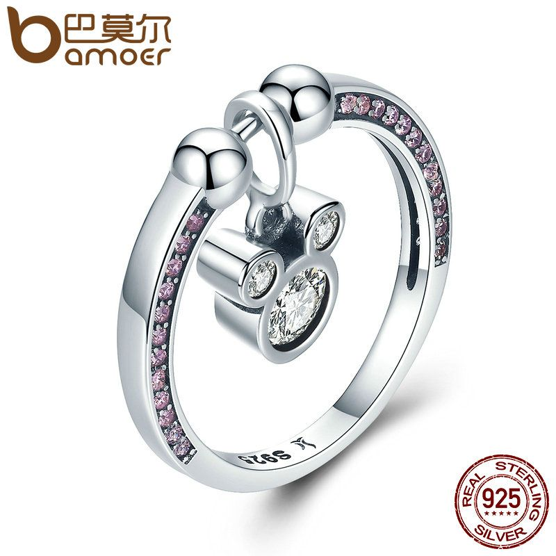 BAMOER Hot Sale Genuine 925 Sterling Silver Fashion Cartoon & Pink CZ Rings for Women Sterling Silver Jewelry Gift SCR127
