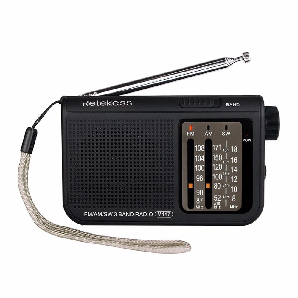 RETEKESS V117 Portable AM/FM Radio with Shortwave Battery Powered Transistor Headphone Jack Small Compact Size Emergency F9207A