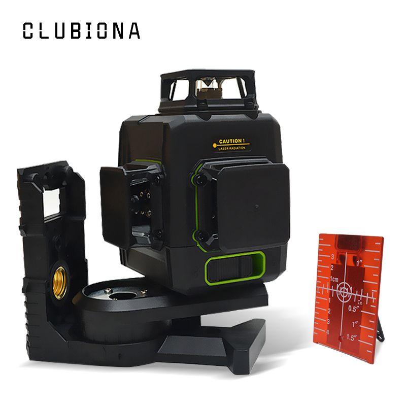 Clubiona CE certifié 3D lignes niveau Laser avec batterie 5200 mah et lignes horizontales et verticales fonctionnent séparément lignes Laser