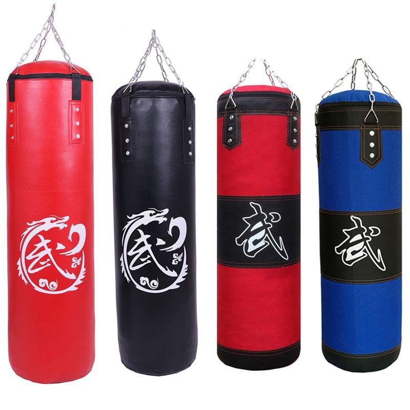 60cm/80cm/100cm/120cm Red Black Blue Training Fitness MMA Boxing Punching Bag Empty Sport Kick Sandbag Muay Thai Boxer Training