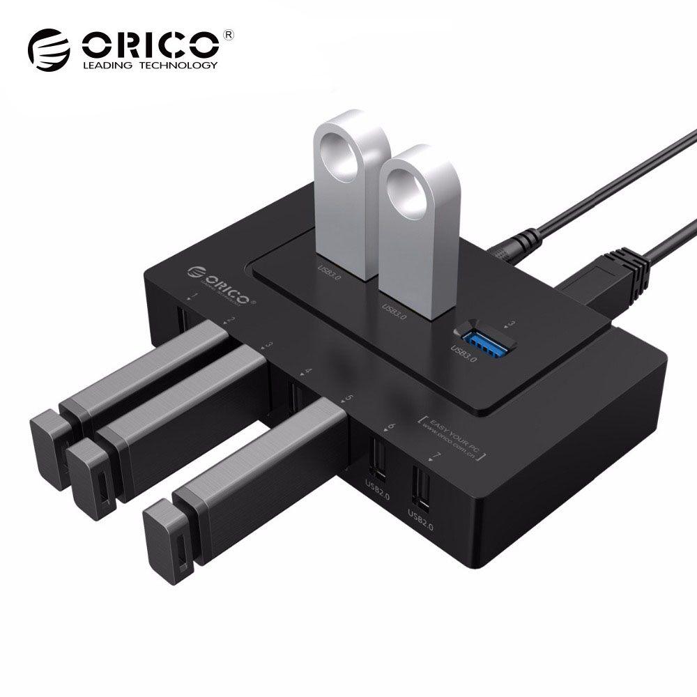 ORICO USB 2.0/3,0 HUB 10 Ports USB HUB 5 Gbps Power Adapter High Speed Splitter Adapter für PC LaptopNotebook -schwarz (H9910-U3)