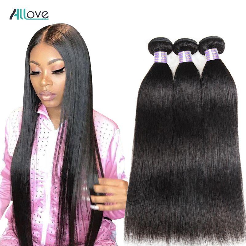 Allove cheveux raides paquets brésiliens de cheveux tissés 100% paquets de cheveux humains couleur naturelle Non Remy cheveux armure 1/3/4 pièces
