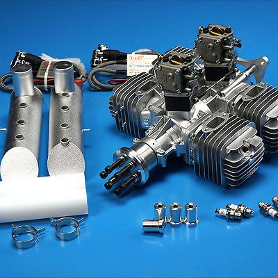 DLE 220CC DLE222 Gasoline Engine W/Electronic Igniton &Muffler For RC Airplane 4.8V-8.4V Newest Version