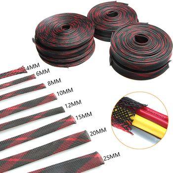 10 M Rouge et Noir Tressé Manches 2/4/6/8/10/12/15/20/25mm Extensible Câble Manches Isolation Fil Glande Câbles 8 Tailles