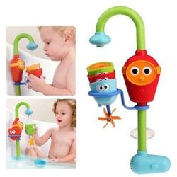 2016 Hot Multicolor Fun Baby bath toys automatic spout play taps/buttressed folding spray showers toy faucet play with water
