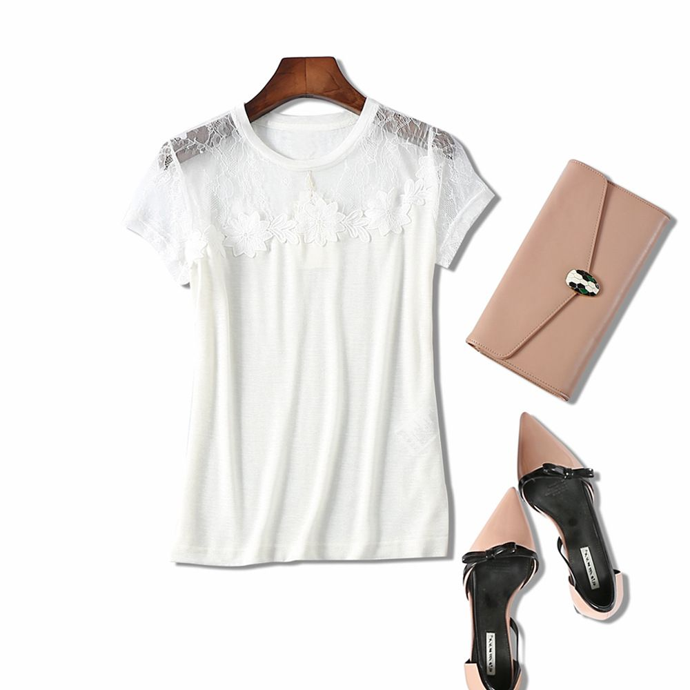 Supper Beautiful 2017 Summer Sexy Hollow Out Flowers Embroidery Women T-shirt Top Quality Lady's Cute Short Sleeve Tops T Shirt
