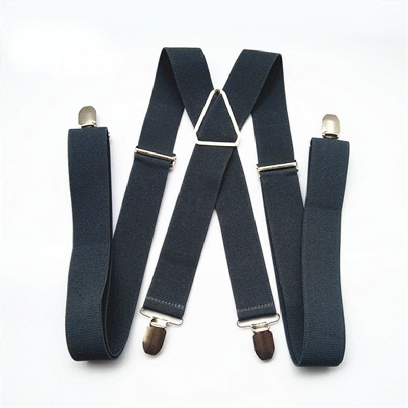 BD054-L XL size Dark gray men's suspender 3.5cm width adjustable elastic X back  clips on pants braces for men and women