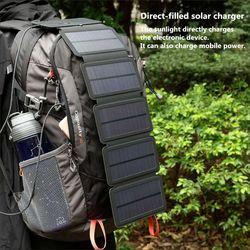 KERNUAP SunPower pliage 10 w Solaire Cellules Chargeur 5 v 2.1A USB Périphériques de Sortie Portable Panneaux Solaires pour Smartphones