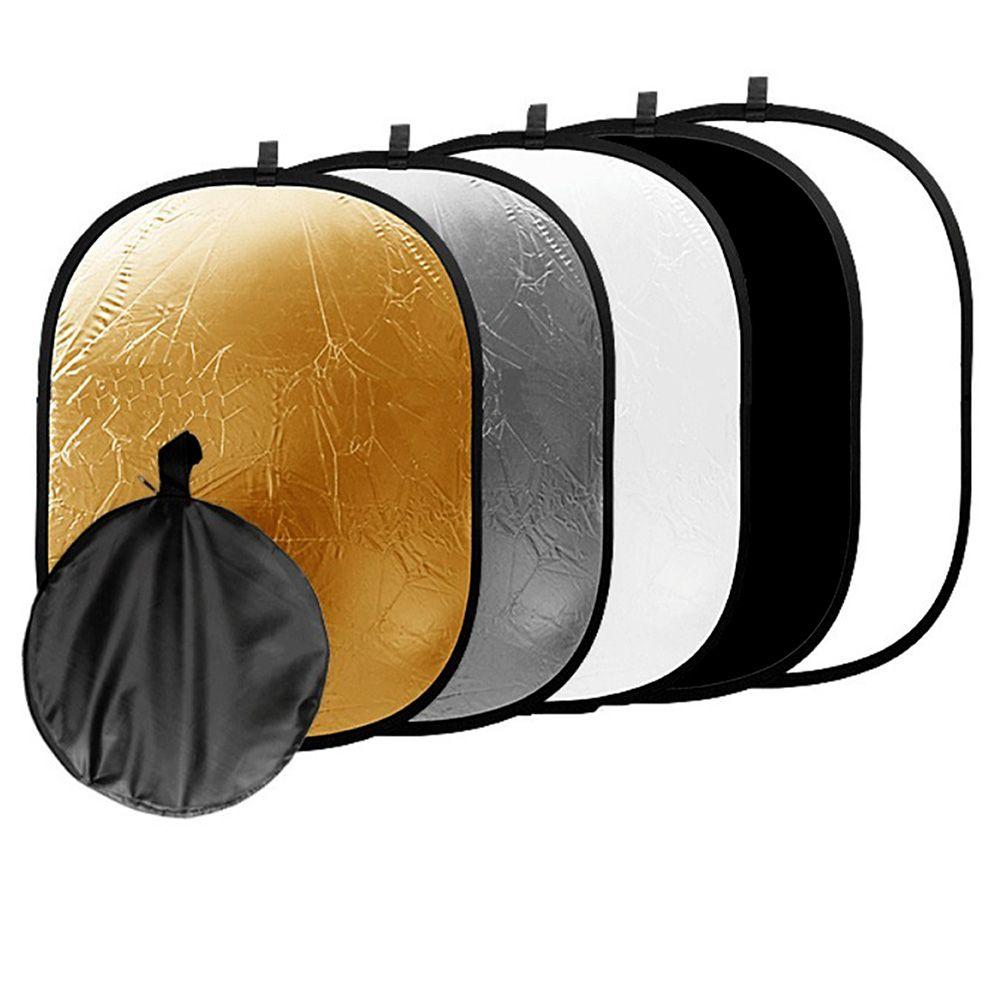90*120 cm 5 en 1 Portable Pliable Studio Photo Pliable Multi-disques Lumière Photographique Réflecteur D'éclairage avec sac de transport
