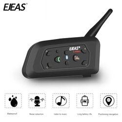 EJEAS V6 Bluetooth casco intercomunicador Moto motocicleta comunicador FM árbitro auriculares con micrófono 1200 m Interphone para 6 BT s2