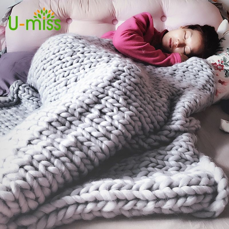 U-miss Fashion Hand Chunky Wool Knitted Blanket Thick Yarn Merino Wool Bulky Knitting Throw Blankets DropShipping 200X200CM