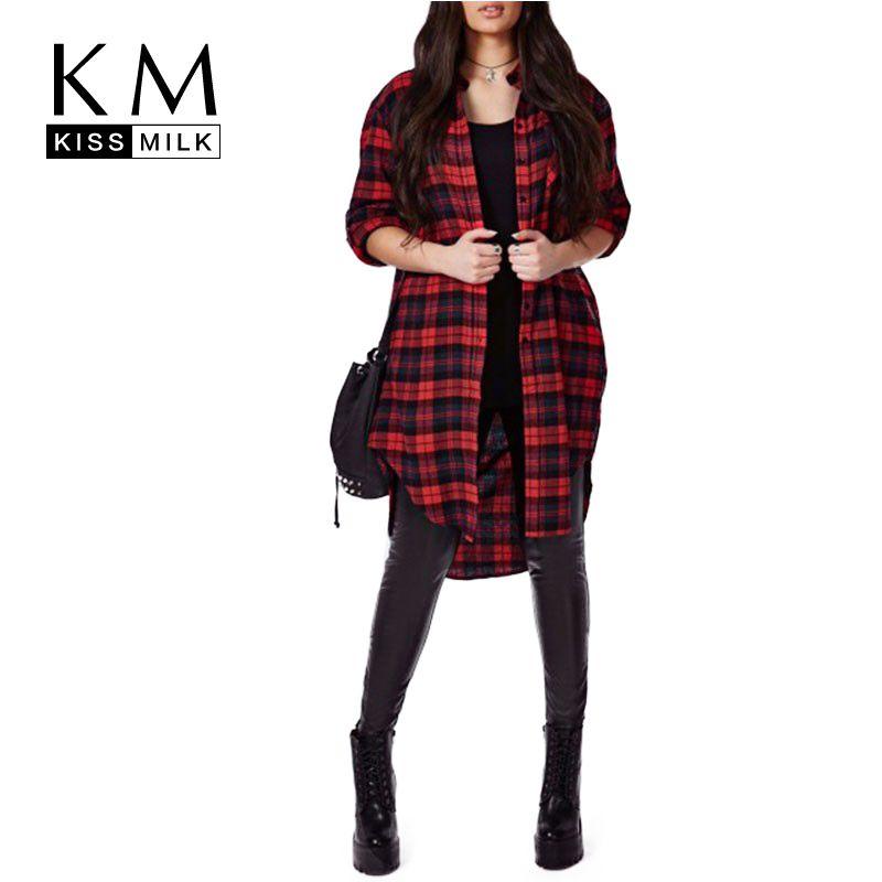 Kissmilk плюс Размеры новые модные женские туфли шагнул подол и пуговицы Подпушка с длинным рукавом большой Размеры Проверьте хлопок длинная б...