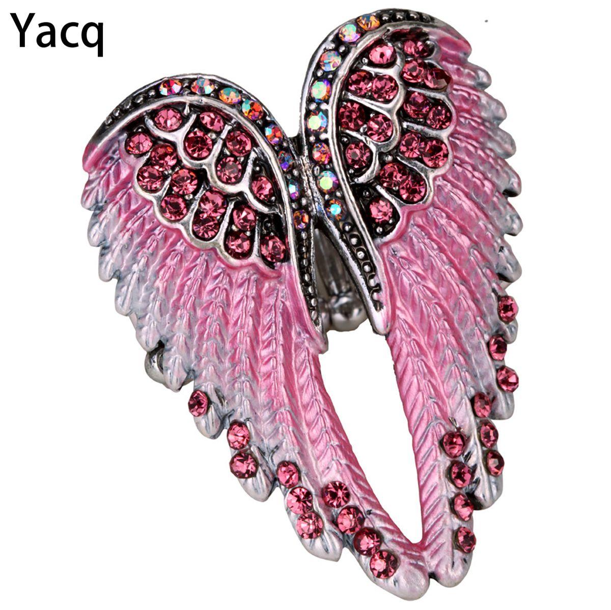 YACQ ange ailes Stretch anneau écharpe fermoir boucle femmes Biker Bling cristal bijoux cadeaux son or argent plaqué livraison directe