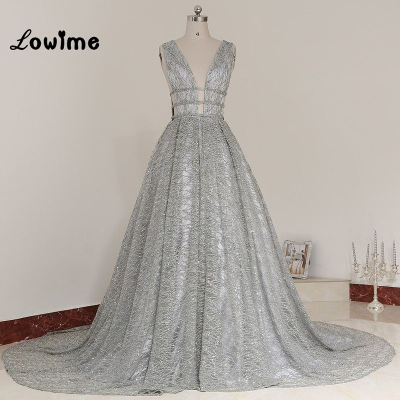 Luxury Silver Evening Dress Deep V-neck Sexy Prom Dresses Open Back With Bow Long Party Gowns Robe De Soiree Longue 2017 Custom