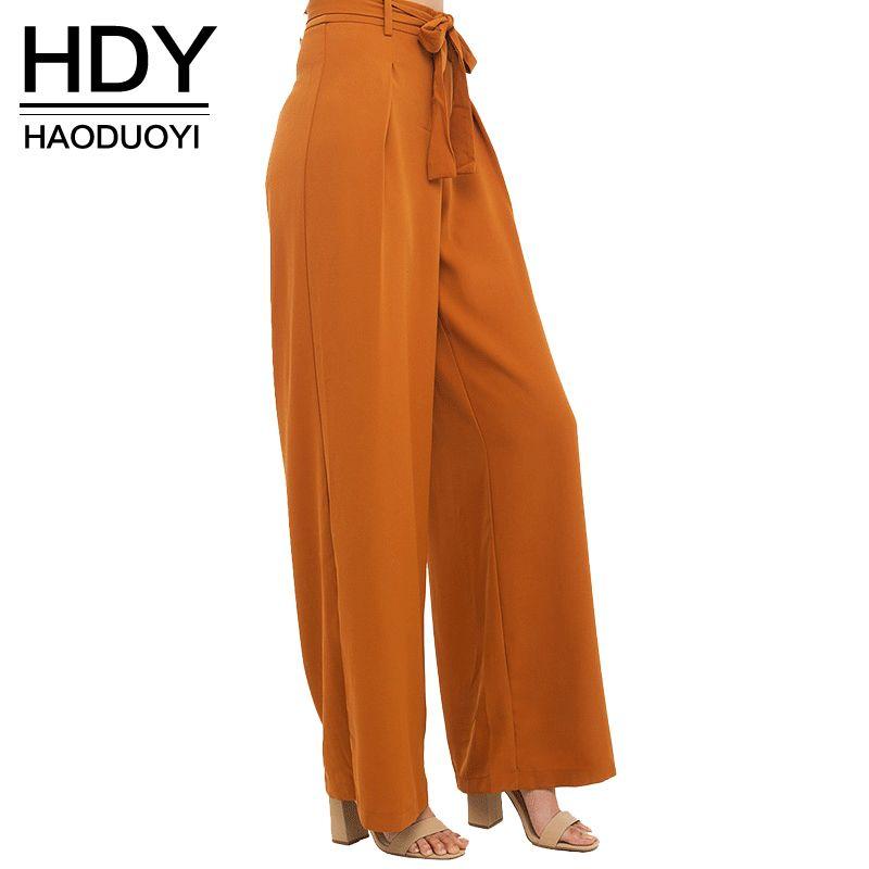 HDY Haoduoyi Femmes Orange Large Jambe de Mousseline de Soie Pantalon Taille Haute Cravate Taille Pantalon Palazzo OL Pantalon Long Culottes Pantalon