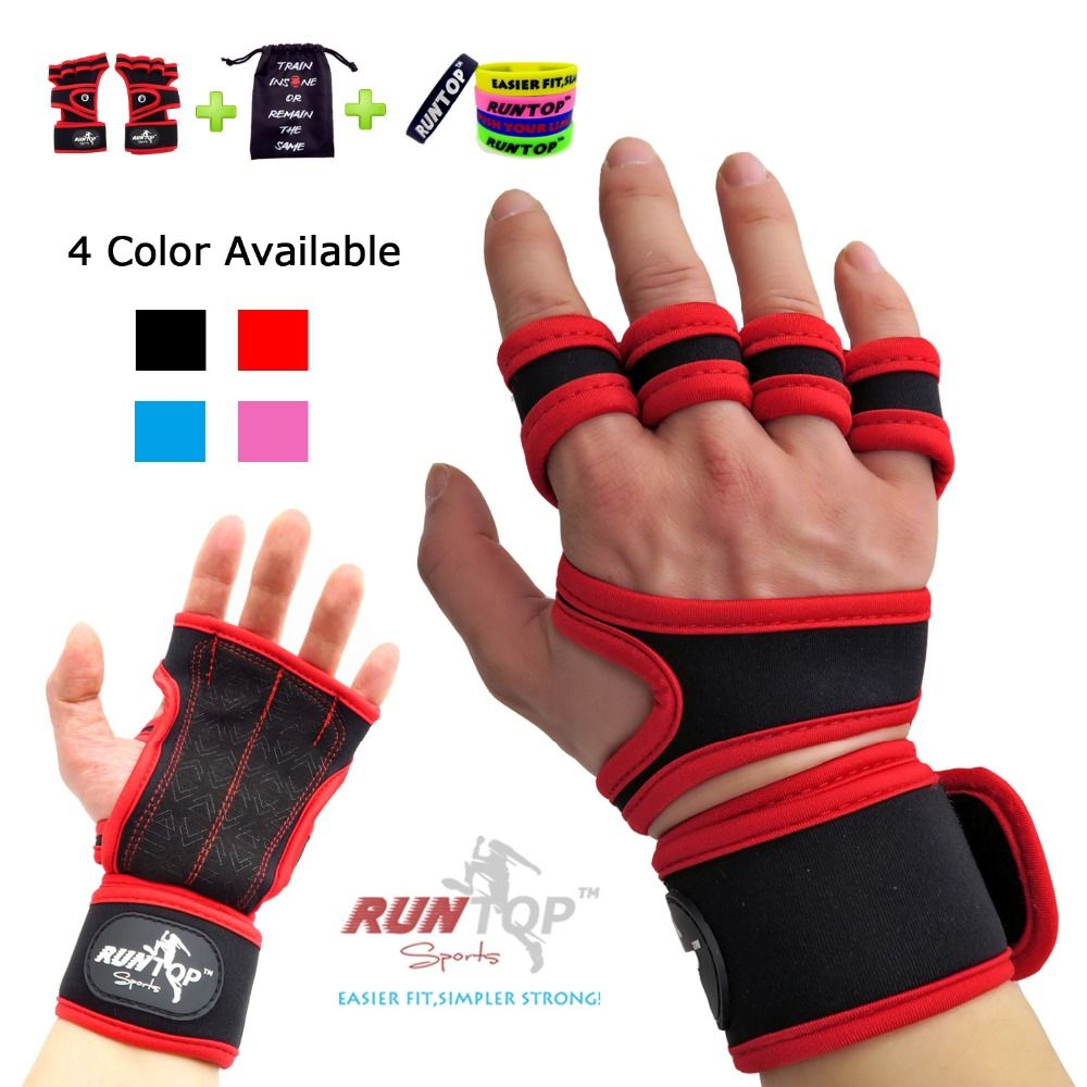 RUNTOP Crossfit WODS <font><b>Training</b></font> Grip Gloves Pad Wrist Wrap Brace Support Workout Fitness Weight Lifting Powerlifting GYM Men Women