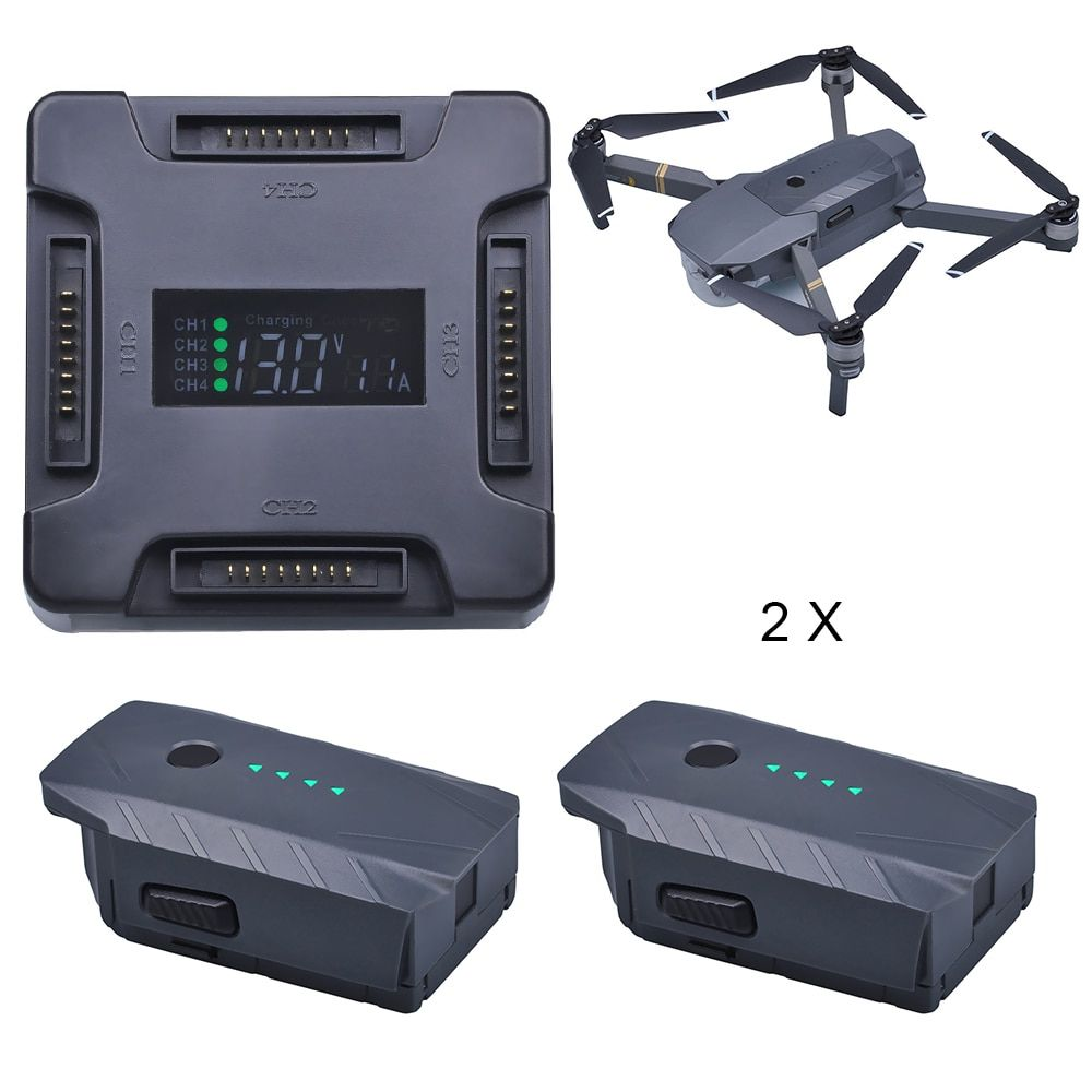 2Pcs 3830mAh DJI Mavic Pro Replacement Battery + LCD 4 in1 Battery Charging Hub for DJI Mavic Pro Quadcopter 4K HD Camera Drones
