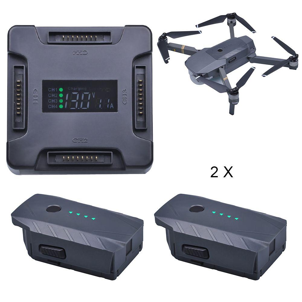 2Pcs 3830mAh DJI Mavic Pro Replacement Battery + LCD 4 in1 Battery Charging Hub for DJI Mavic Pro Quadcopter 4K HD Camera Drones