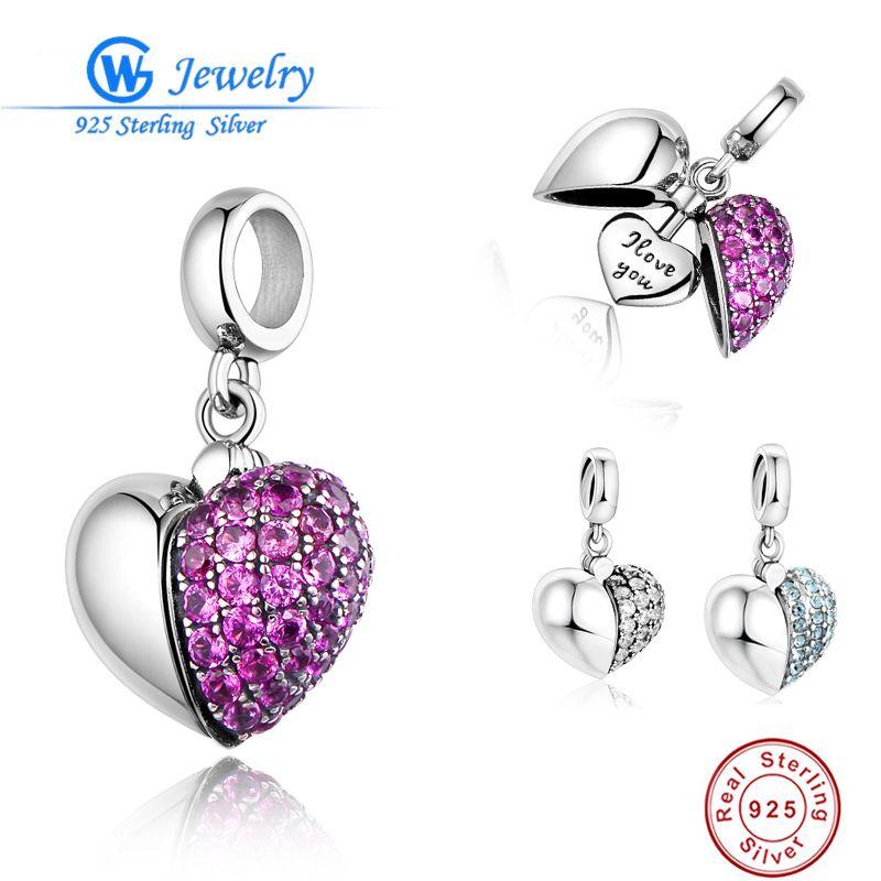 Аутентичные стерлингового серебра 925 Талисманы я люблю тебя сердце Fit оригинальный браслет Pandora Цепочки и ожерелья DIY для Для женщин Бусины & ...