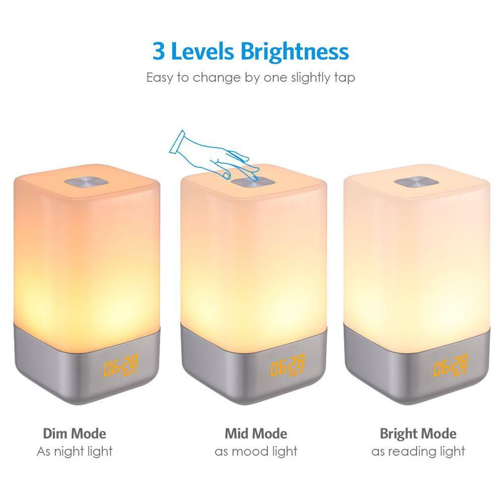 LED Wake Up Licht Wecker Simulation Digitale Uhr 18650 Batterie USB Aufladbare Sonnenaufgang Wecker Bunte Nacht Licht