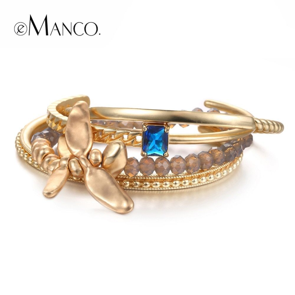 eManco Luxury Multifuctional Charms Bracelets for Women Crystal &Dark Bule &Class Drill Bracelet &Bangle Jewelerly