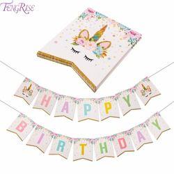 Fengrise Unicorn Dekorasi Pesta Ulang Tahun Spanduk Anak-anak Favor Baby Shower Balon Puncak Kue Unicorn Ulang Tahun