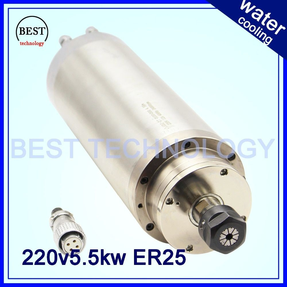 5.5 KW ER25 CNC Spindle motor Water Cooling for woodworking cnc Spindle water 380v / 220v AC 4pcs bearings High Speed