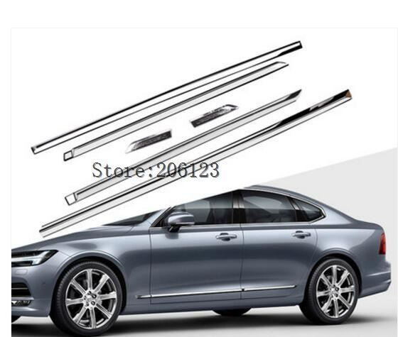Car styling Auto Side Skirt Car stainless steel Sticker Side Body Door Decoration Sticker Trim for Volvo S90 auto Accessories