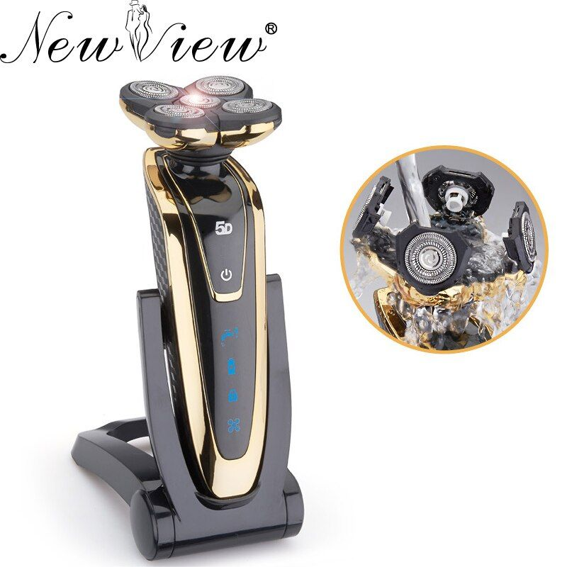 NewView Electric Shaver Washable Rechargeable Rotary Men Razor 5D Floating Blades Beard Trimmer