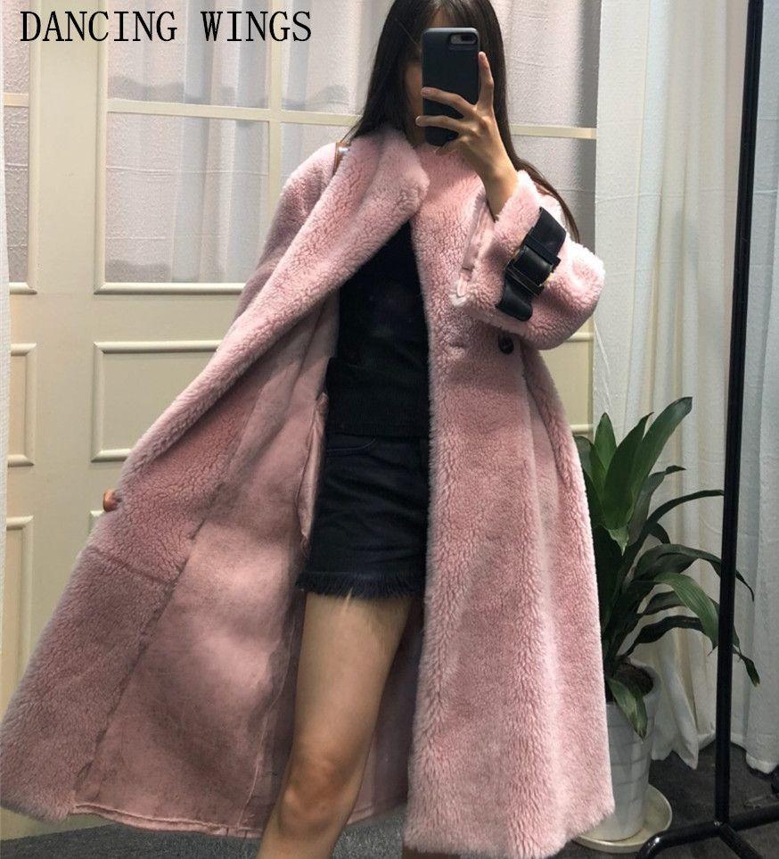 real double-faced fur coat winter jacket women long warm thick natural lamb fur coat outerwear