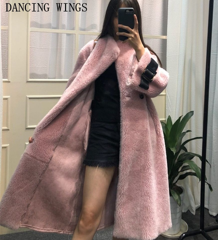 real double-faced fur coat winter jacket women long warm thick natural lamb fur coat outerwear