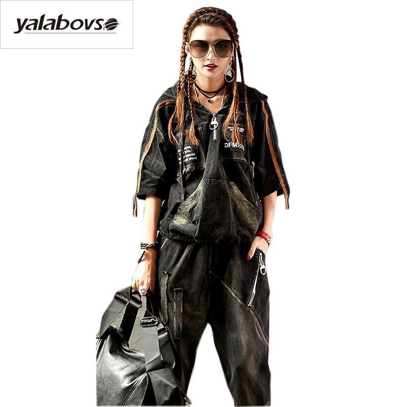 Yalabovso 2018 Vintage Rétro Punk Lâche Costume Femelle Punk Rave Trou à capuchon Chemise + Hip Hop Élastique taille Pantalon pour femme A81 Z15