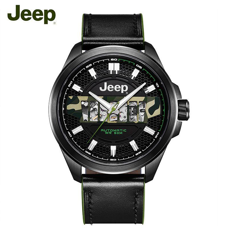 Jeep Original Herren Mechanische Uhren Grand Cherokee Seri 50 mt Wasserdichte Stahl Hohl Luxus Marke Männliche Uhr JPG900101MA