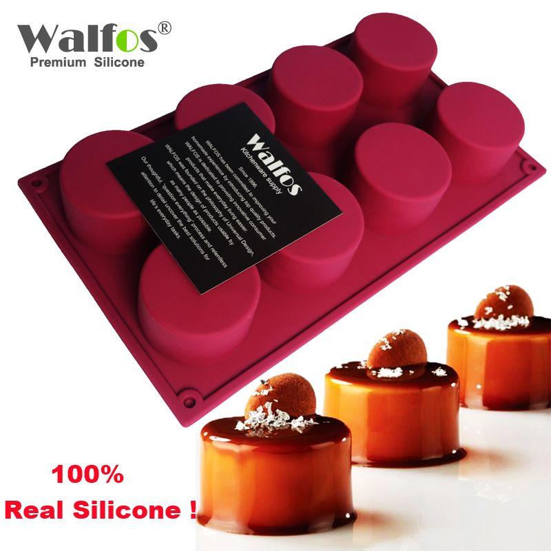 WALFOS 3D fait à la main forme ronde Silicone gâteau moule 3 Cupcake gelée Pudding Cookie Mini Muffin savon moule bricolage cuisson outils