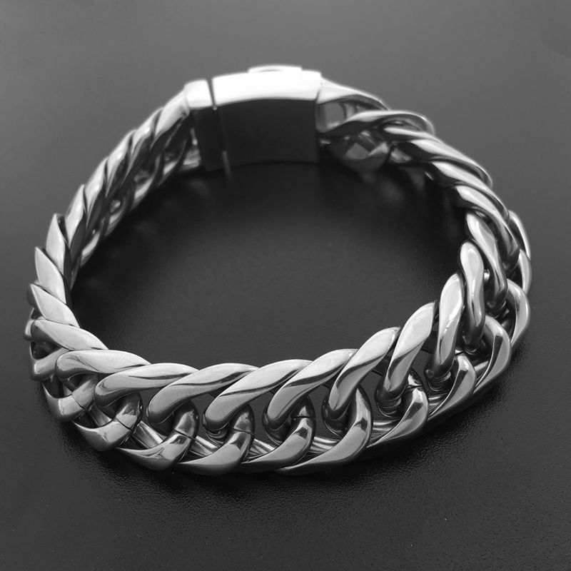 Cuba Chain Bracelet 22cm Men Jewelry 316L Stainless Steel Male Link Bangles Punk European Style Bicycle Chain Wristband 033