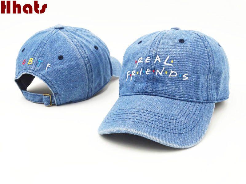 Qui sous la douche broderie véritable ami denim chapeau unisexe papa chapeau mode été snapback casquette de baseball pêche os pour femmes hommes
