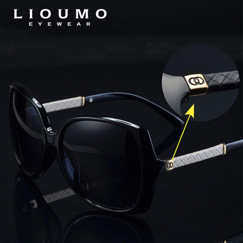 LIOUMO marque de luxe femmes polarisées UV400 lunettes de soleil pour femmes vintage verre femme Original célèbre lunettes de soleil avec logo C 9110