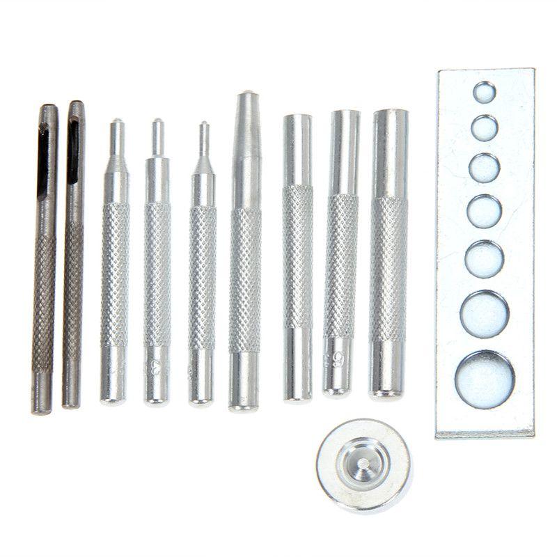 11pcs/set Metal DIY Leather Craft Tool Set Die Hole Punch Snap Fasteners Press Studs Rivet Setter Base Kit